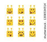 set of yellow chatbot emoji...