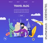 guy shoots video travel blog to ... | Shutterstock .eps vector #1308540781