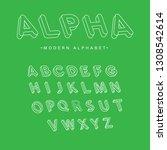 alpha isometric trendy font.... | Shutterstock .eps vector #1308542614