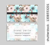 floral business card design.... | Shutterstock .eps vector #1308553201