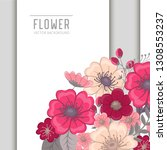 greeting card with flowers ... | Shutterstock .eps vector #1308553237