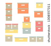 storage boxes vector icon set.... | Shutterstock .eps vector #1308557311