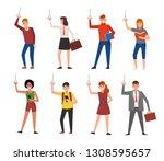 people standing in the subway...   Shutterstock .eps vector #1308595657