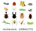 cute insects set | Shutterstock .eps vector #1308621751