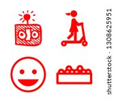 amusement icons set with roller ... | Shutterstock .eps vector #1308625951