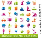 set of 36 food and drinks icons.