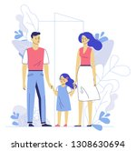 happy young family dad  mom ... | Shutterstock .eps vector #1308630694