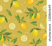 lemon seamless pattern. vector... | Shutterstock .eps vector #130864649