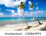 tropical beach with sea wave on ... | Shutterstock . vector #130864991