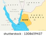 neom political map of the 500... | Shutterstock .eps vector #1308659437