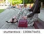 fashionable young woman in high ... | Shutterstock . vector #1308676651