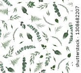 seamless leaves pattern. design ... | Shutterstock .eps vector #1308682207
