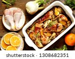 dish with fennel. baked chicken ... | Shutterstock . vector #1308682351