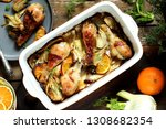 dish with fennel. baked chicken ... | Shutterstock . vector #1308682354