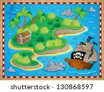 theme with island and treasure... | Shutterstock .eps vector #130868597