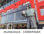 Small photo of London, England on February9 2019: Entrance of Valley stadium with in front off the statute of Sam Bartram