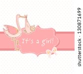cute baby girl announcement... | Shutterstock .eps vector #130871699