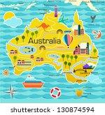 cartoon map of australia | Shutterstock .eps vector #130874594