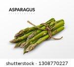 fresh green asparagus bunch... | Shutterstock .eps vector #1308770227