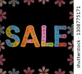 sale banner. picture in black ... | Shutterstock .eps vector #1308775171