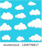 sky clouds white blue vector... | Shutterstock .eps vector #1308798817