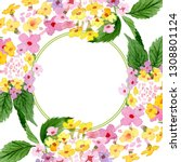 pink lantana floral botanical... | Shutterstock . vector #1308801124