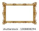 panoramic golden frame for... | Shutterstock . vector #1308808294