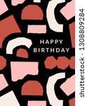 greeting card template with... | Shutterstock .eps vector #1308809284