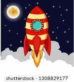 rocket goes up in the sky with... | Shutterstock .eps vector #1308829177