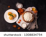 cheesecakes with dried apricots | Shutterstock . vector #1308834754