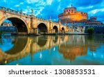 bridge and castle sant angelo... | Shutterstock . vector #1308853531