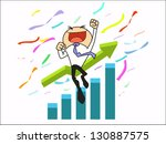 businessman succeed in higher... | Shutterstock .eps vector #130887575