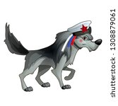 gray forest wolf in a sailor... | Shutterstock .eps vector #1308879061