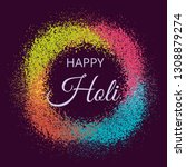 happy holi greeting card for... | Shutterstock .eps vector #1308879274