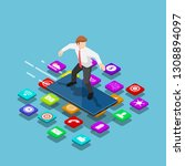 flat 3d isometric businessman... | Shutterstock .eps vector #1308894097