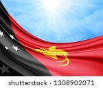 new guinea flag of silk with... | Shutterstock . vector #1308902071
