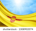 new mexico flag of silk with... | Shutterstock . vector #1308902074