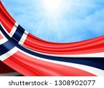 norway  flag of silk with... | Shutterstock . vector #1308902077