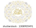 floral easter card with... | Shutterstock .eps vector #1308905491