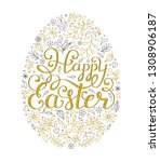 floral easter egg with... | Shutterstock .eps vector #1308906187