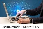 businessman hand sending a...   Shutterstock . vector #1308913177