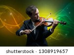 serious classical violinist...   Shutterstock . vector #1308919657