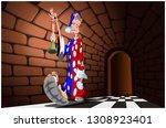 a man walks along a dark...   Shutterstock .eps vector #1308923401