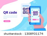 hand with pnone. qr code... | Shutterstock .eps vector #1308931174