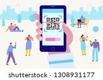 hand with pnone. qr code... | Shutterstock .eps vector #1308931177