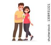 man gives a woman a gift.... | Shutterstock .eps vector #1308931321