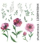 floral watercolor set with pink ... | Shutterstock . vector #1308945844