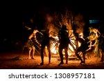 zulu dancing show bonfire in... | Shutterstock . vector #1308957181