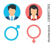 vector male and female icon set.... | Shutterstock .eps vector #1308957301