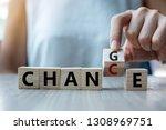 businesswoman hand holding... | Shutterstock . vector #1308969751